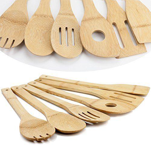 Amazon Com Huji Bamboo Wooden Kitchen Cooking Utensils Gadget Set Of 6 Spoon Spatula Fork Eco Friendly Kitchen Cooking Utensils Kitchen Cooking Utensils