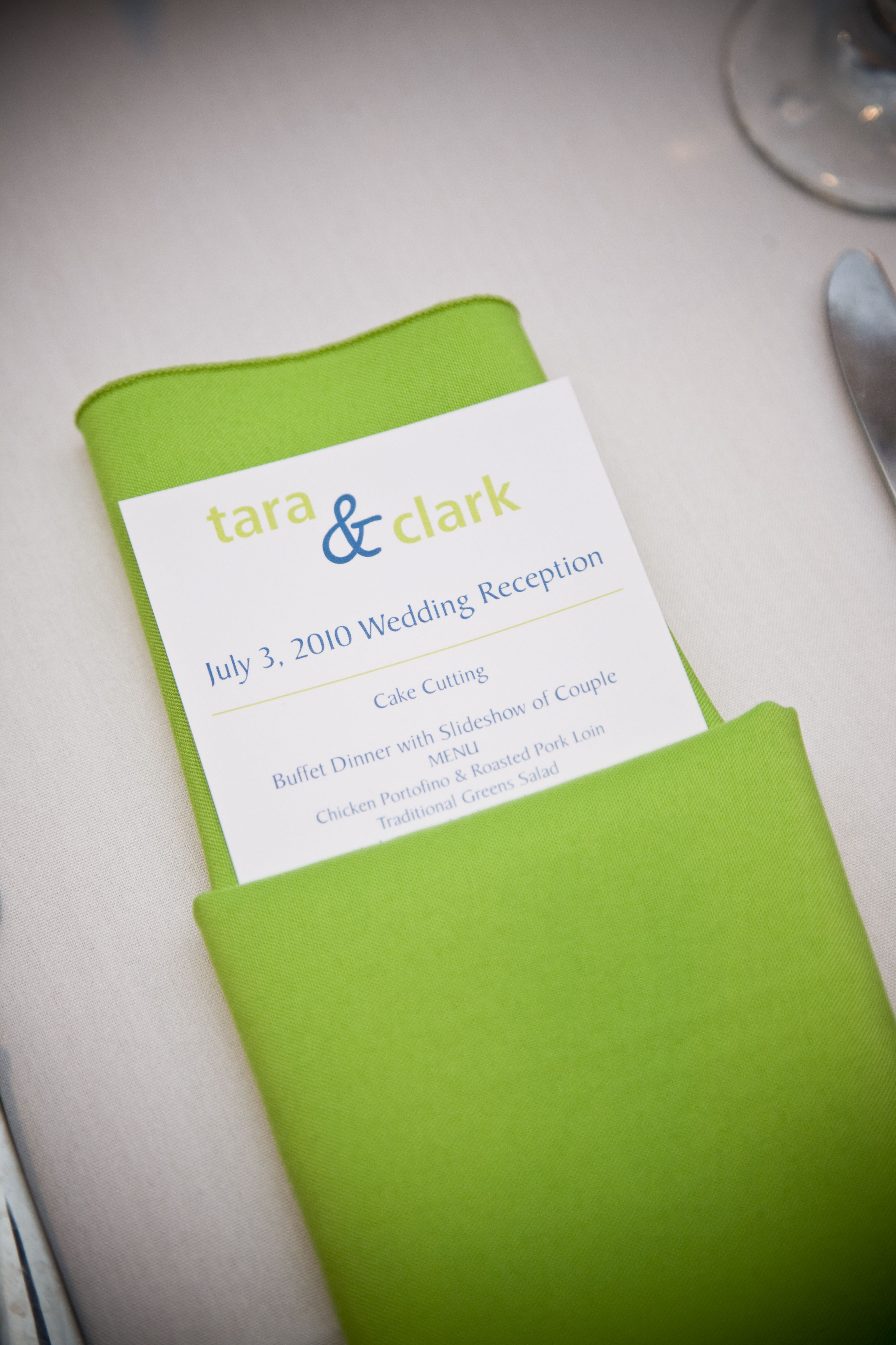 Wedding Reception Timeline And Menu In Napkin Weddings Pinterest