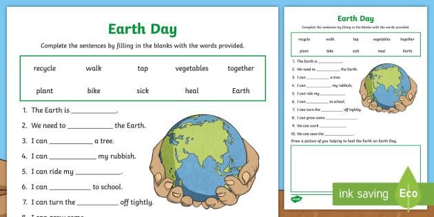 (1) Earth Day Cloze Worksheet (teacher made) en 2020 ...