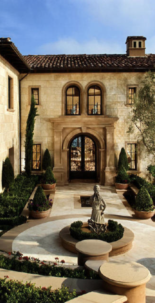 Gorgeous architecture with elegant landscape tuscan Italian inspired home decor