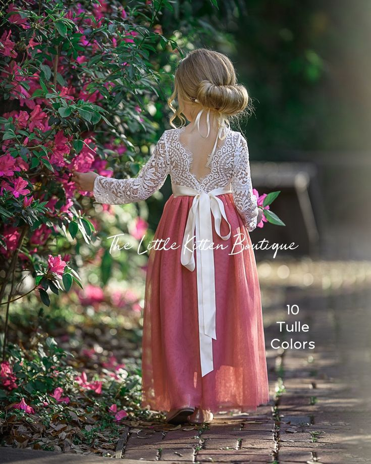 tulle flower girl dress, rustic lace flower girl dresses, long sleeve flower girl dresses, boho flow