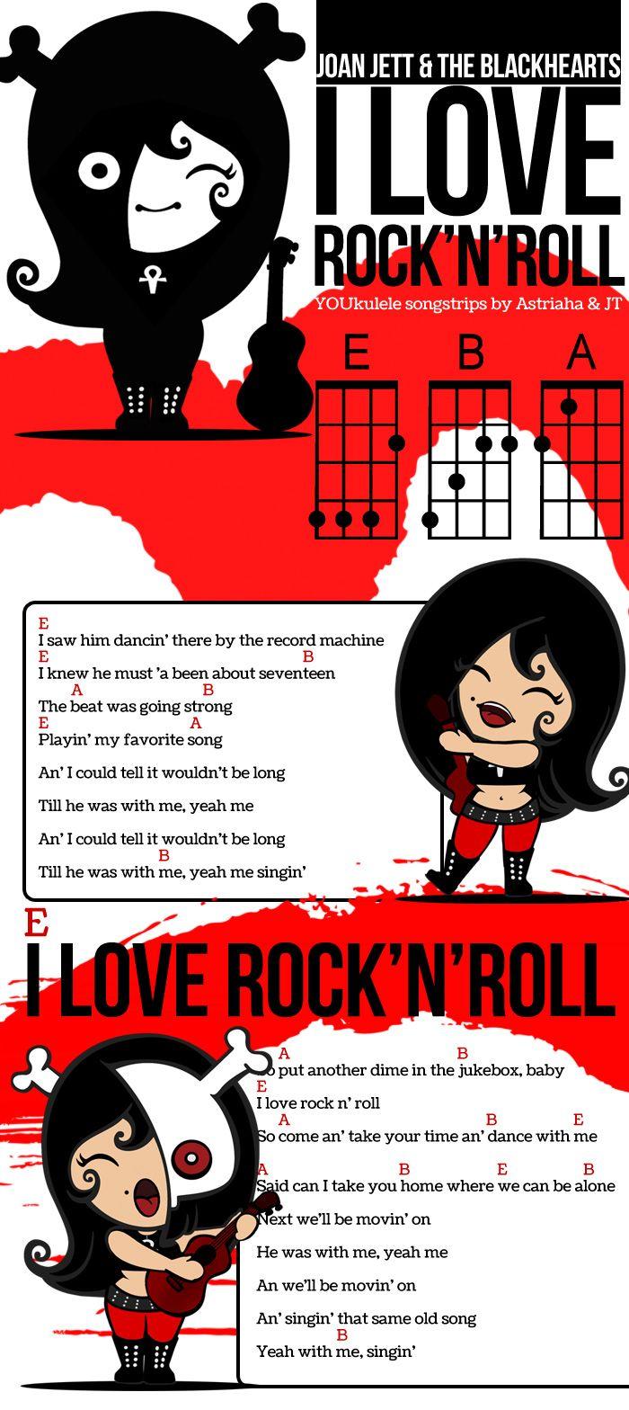 In piedi mano sul cuore e fuori la voce vediamo come si suona i joan jett love rock and roll ukulele chords in a song strip hexwebz Gallery