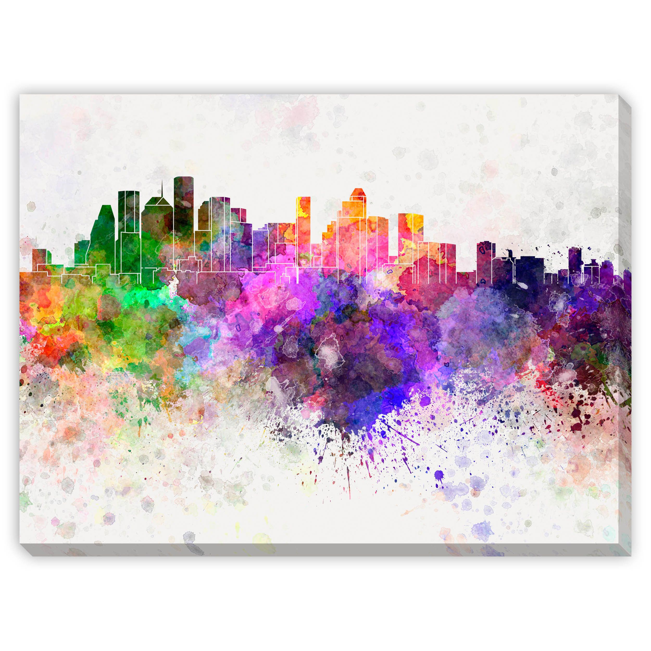 Watercolor art galleries in houston - Gallery Direct Paul Rommer S Houston Skyline In Watercolor Canvas Gallery Wrap Art By Gallery Direct