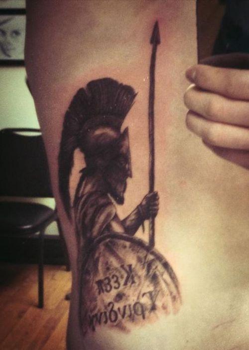089c447c3022d Grey Ink Spartan Tattoo On Side Rib | Armor tattoo | Spartan tattoo ...