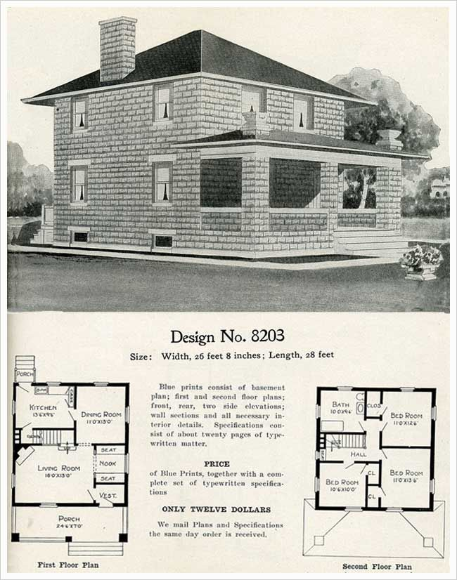 Model 8203 Cement Block Foursquare William A Radford 1909 Pyramidal Roof Cinder Block House House Blueprints Four Square Homes