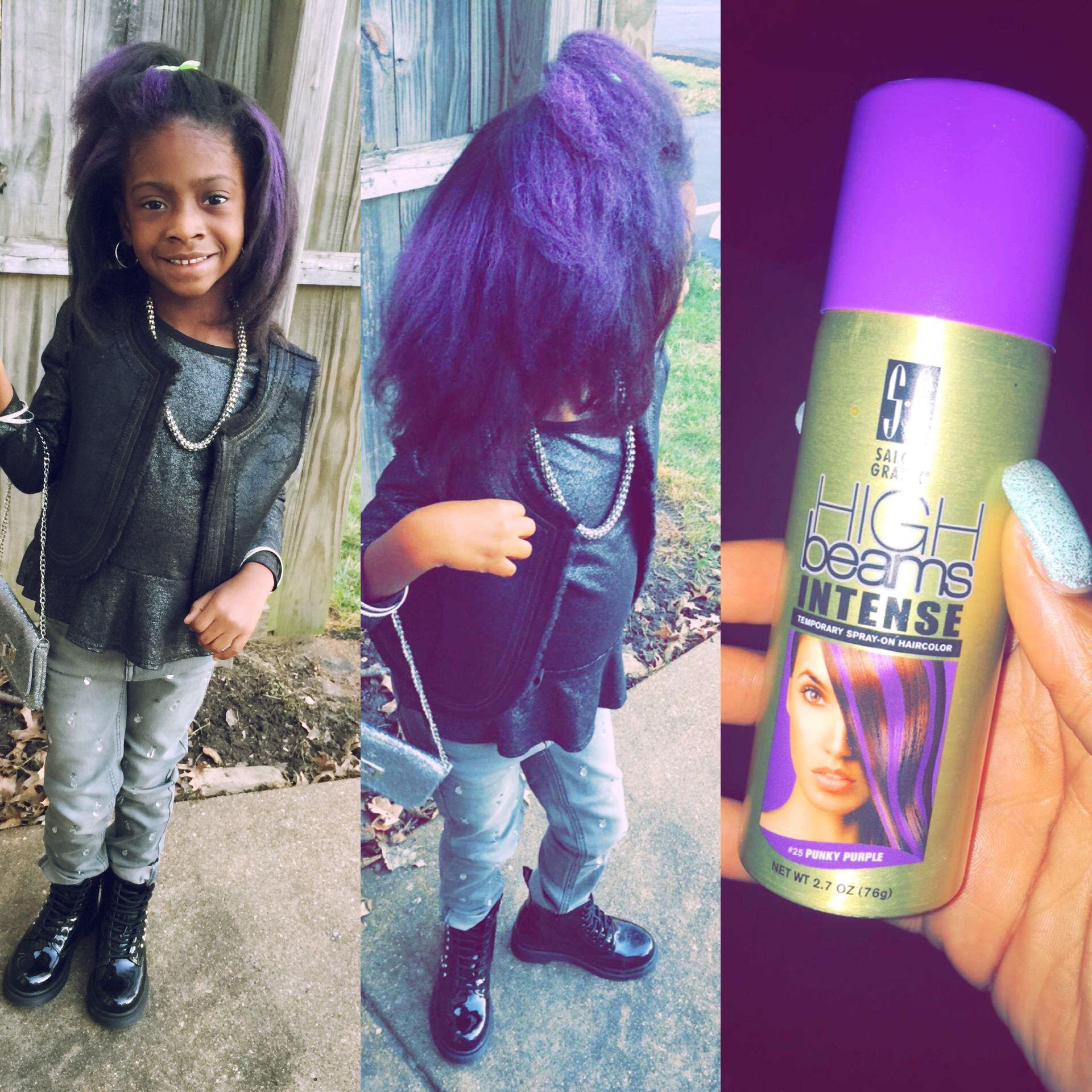 Little black girls hairstyles Hairspray Purple Straight hair ...