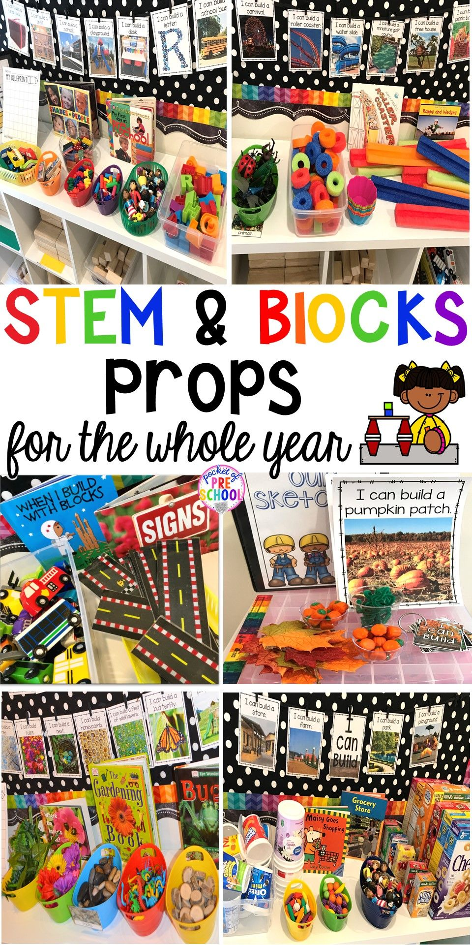 STEM & Blocks Center Props for the Whole Year  Pocket of Preschool is part of Preschool stem - Blocks & STEM prop idea list for the WHOLE year, every season, holiday, and theme! Make it an amazing place for your preschool, prek, and kindergarten engineers  preschool prek kindergarten STEM blockscenter