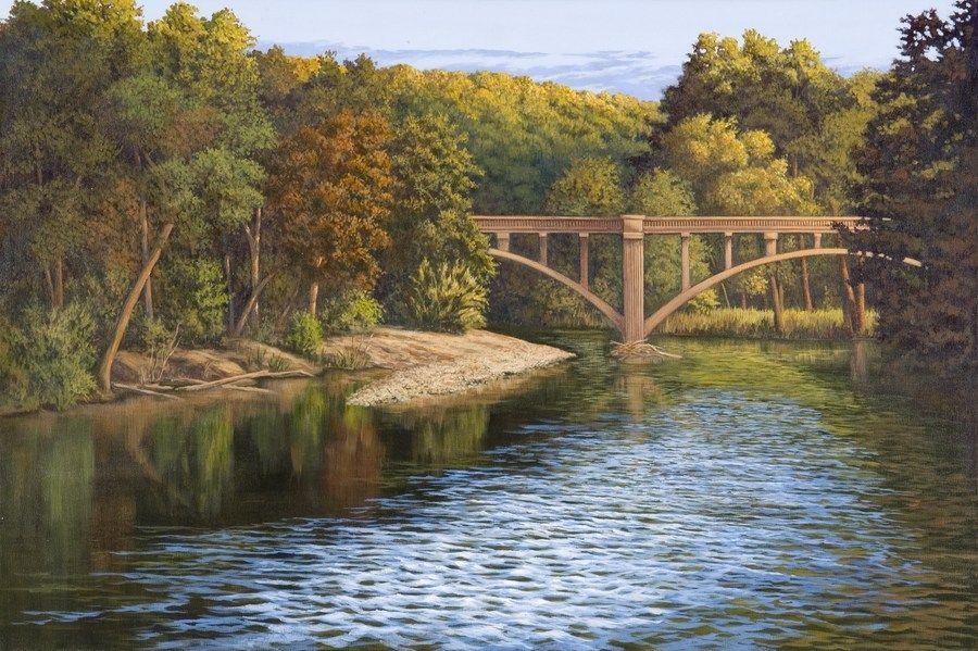 Bridge Over Niangua River 24 X36 John Will Be Showing His
