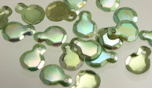 Vintage Sequins in Fun Shapes: Vintage French Metallic Green Iris Dangling Sequins