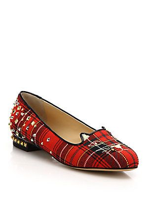 91e6b849b8f Charlotte Olympia Punk Embellished Plaid Kitty Flats