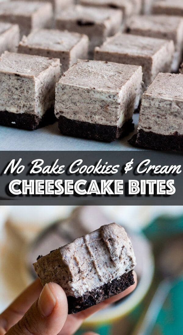 No Bake Cookies and Cream Cheesecake Bites
