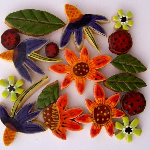 """Santa Theresa Tile Works - fall bouquet of handmade mosaic tile flowers, Fits a 4"""" by 4"""" space."""
