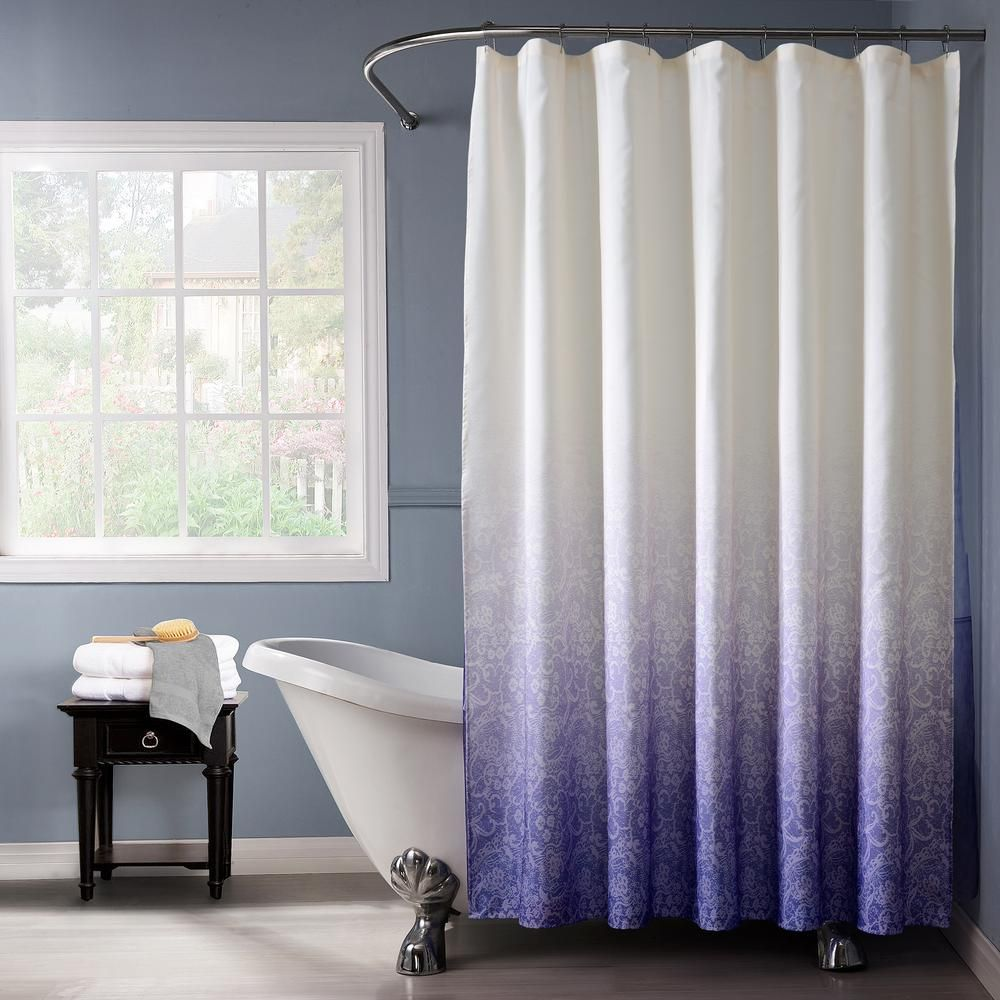 Dainty Home Lace Ombre 72 In Blue Monochromatic Fabric Shower