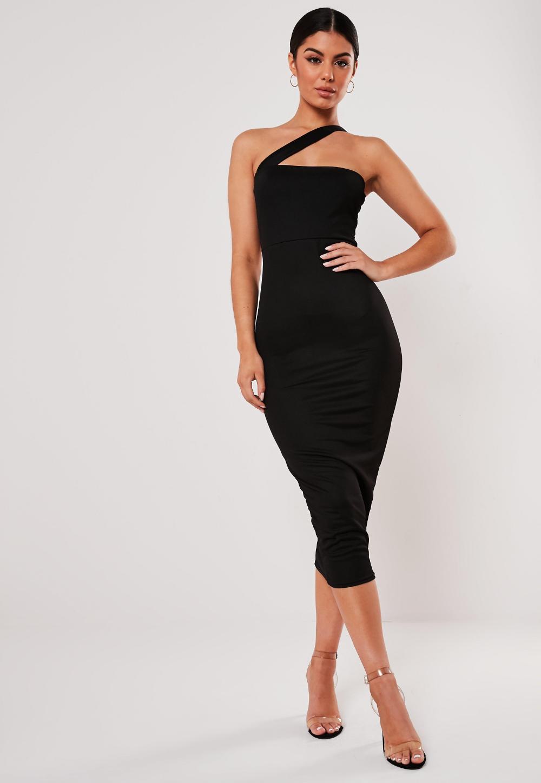 Black Asymmetric Strap Bodycon Midi Dress Missguided Midi Dress Bodycon Womens Occasion Dresses Black Dresses Classy [ 1448 x 1000 Pixel ]