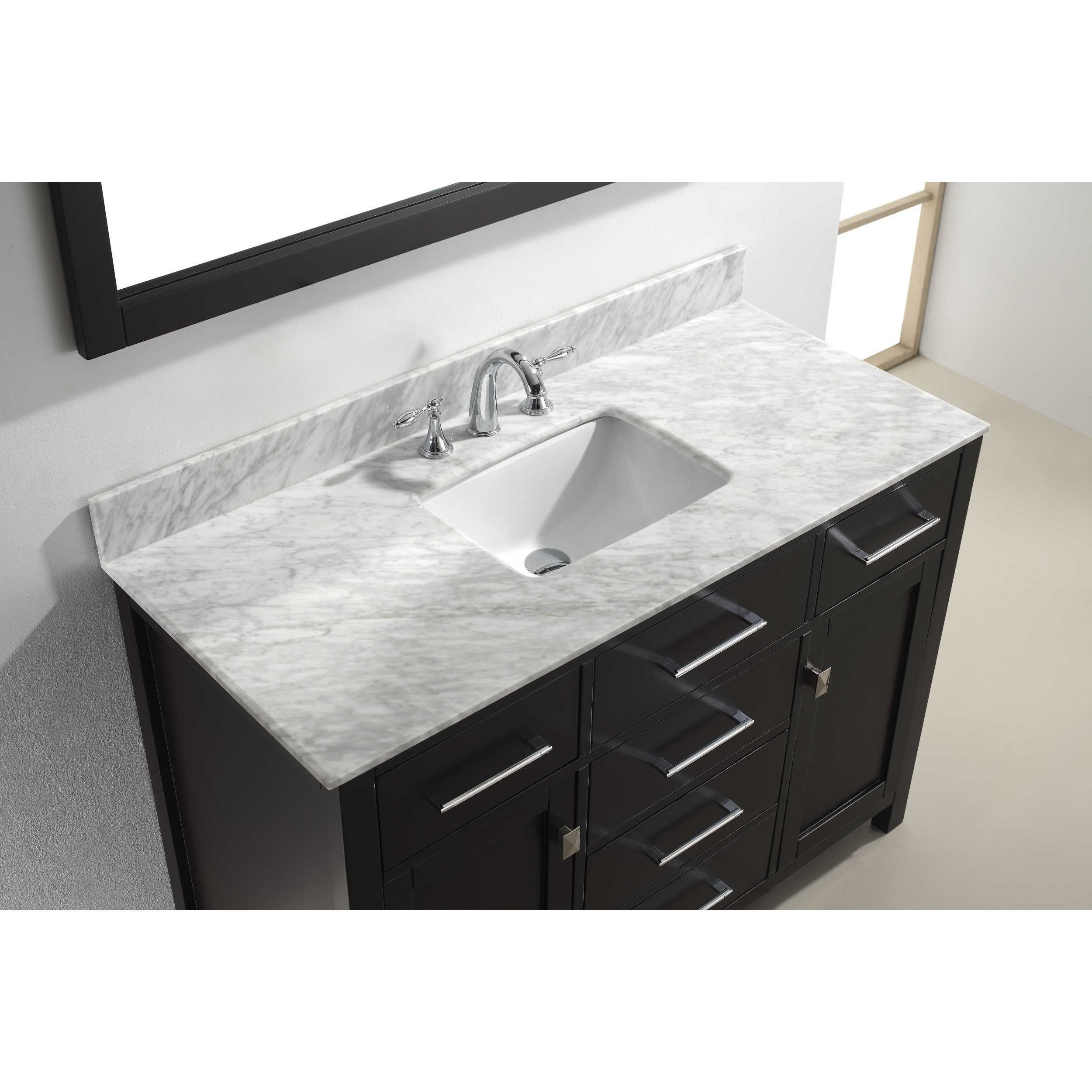 Virtu Usa Caroline 48 Inch Carrara White Single Sink Bathroom Vanity