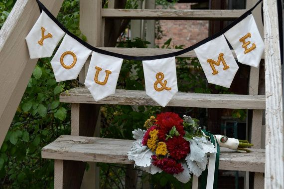 You & Me Embroidered Wedding Banner by MaryElise on Etsy