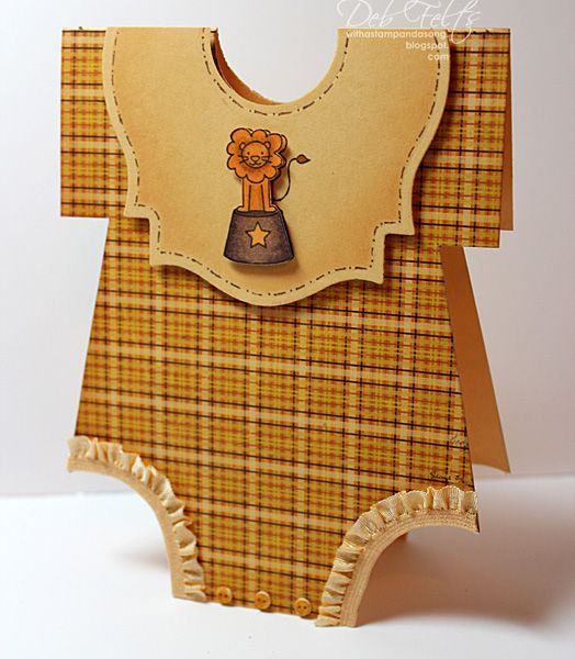 This cute onsie-shaped handmade baby card has a template so that you can make your own!