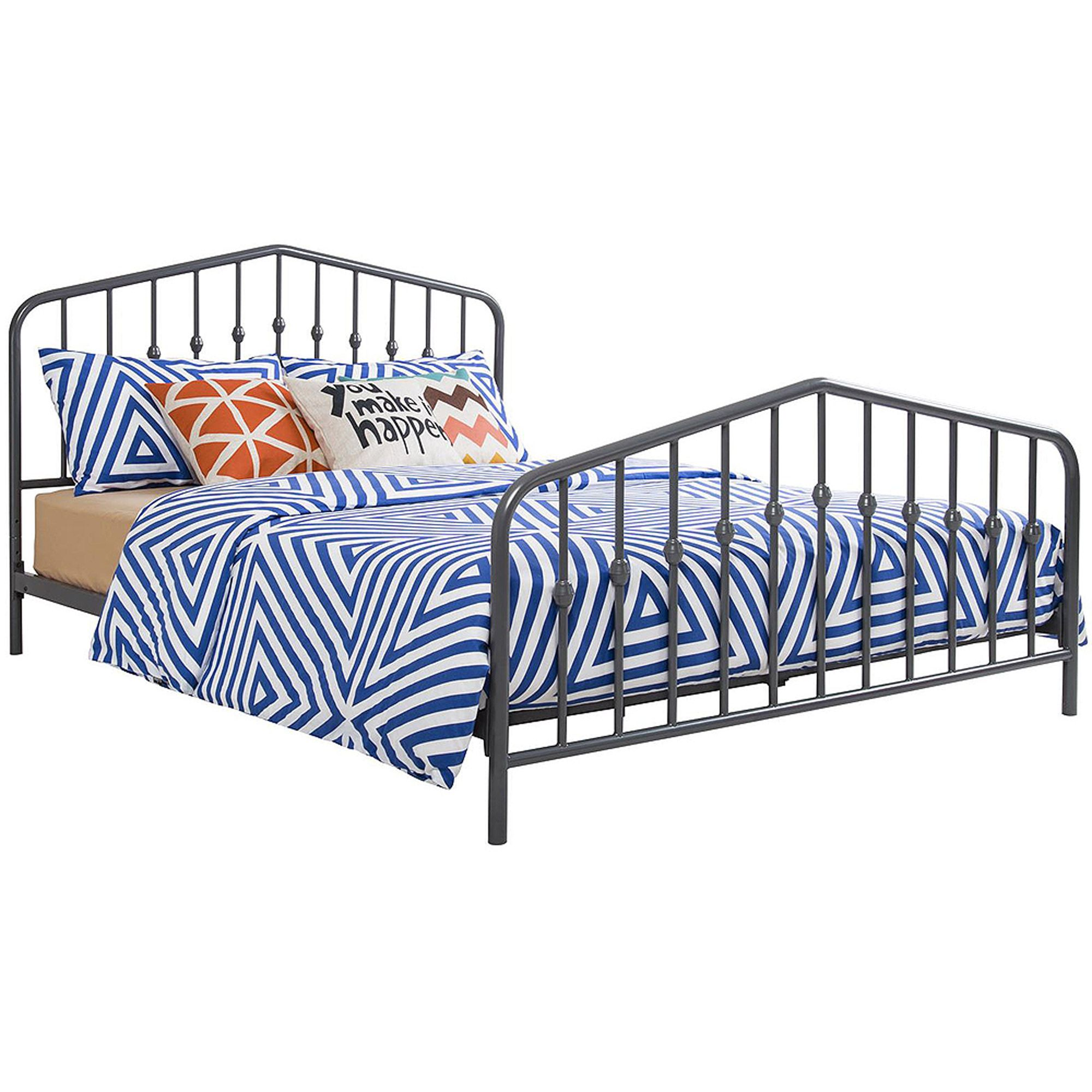 Buy 9 by Novogratz Bushwick Queen Metal Bed, Gunmetal Gray