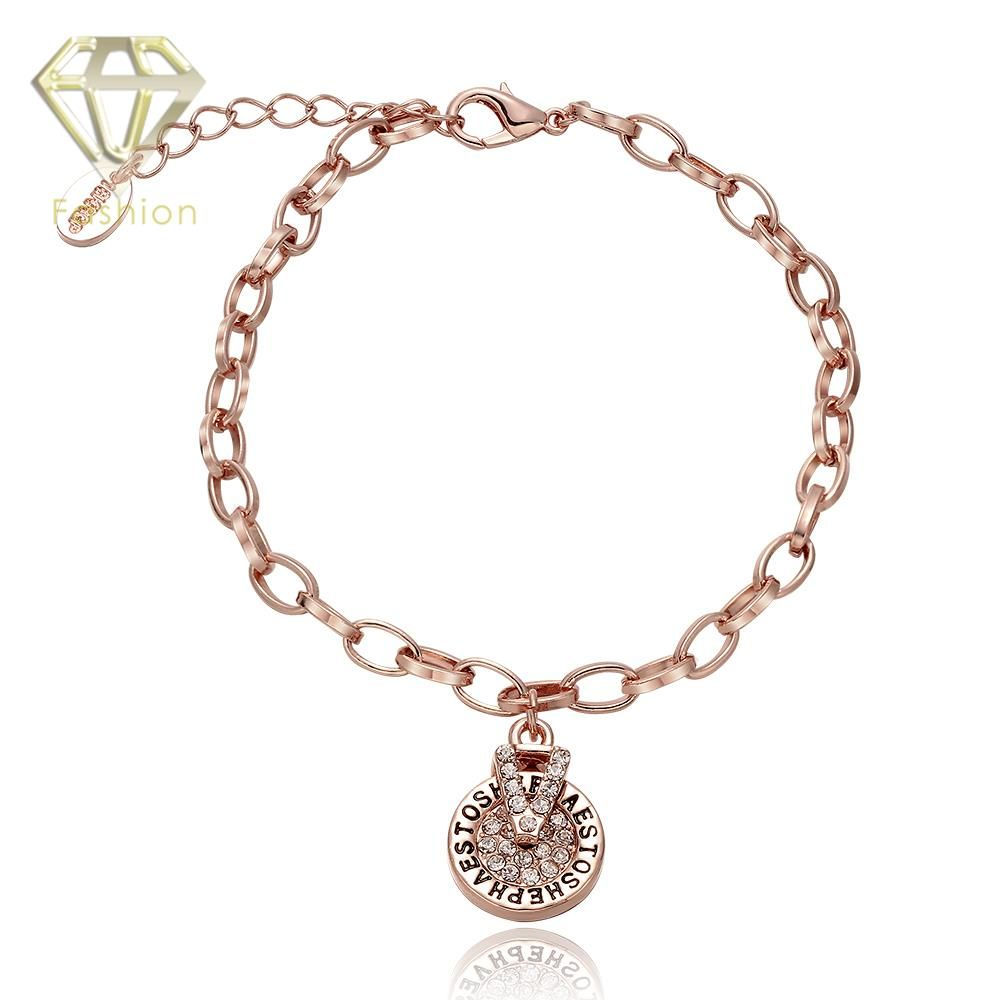 New design rose gold color inlaid zircon roundshaped with letters