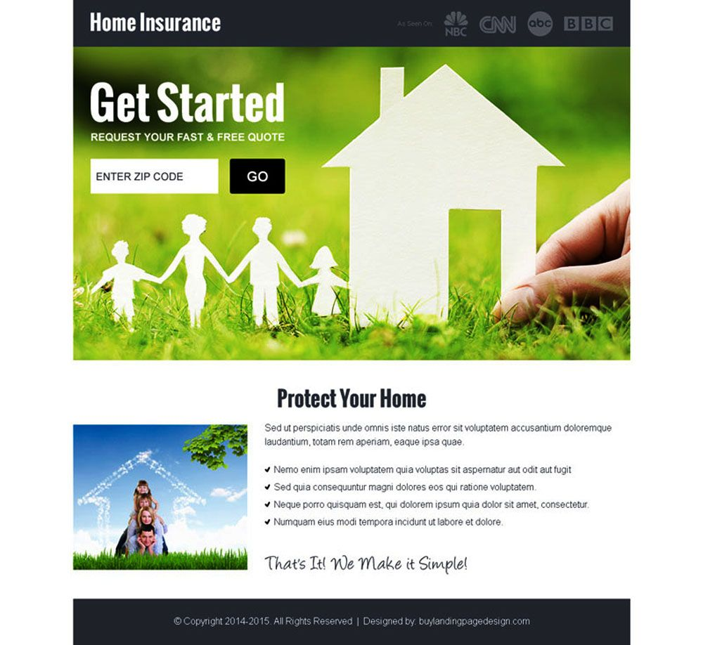 Home Insurance By Zip Code Responsive Landing Page Design