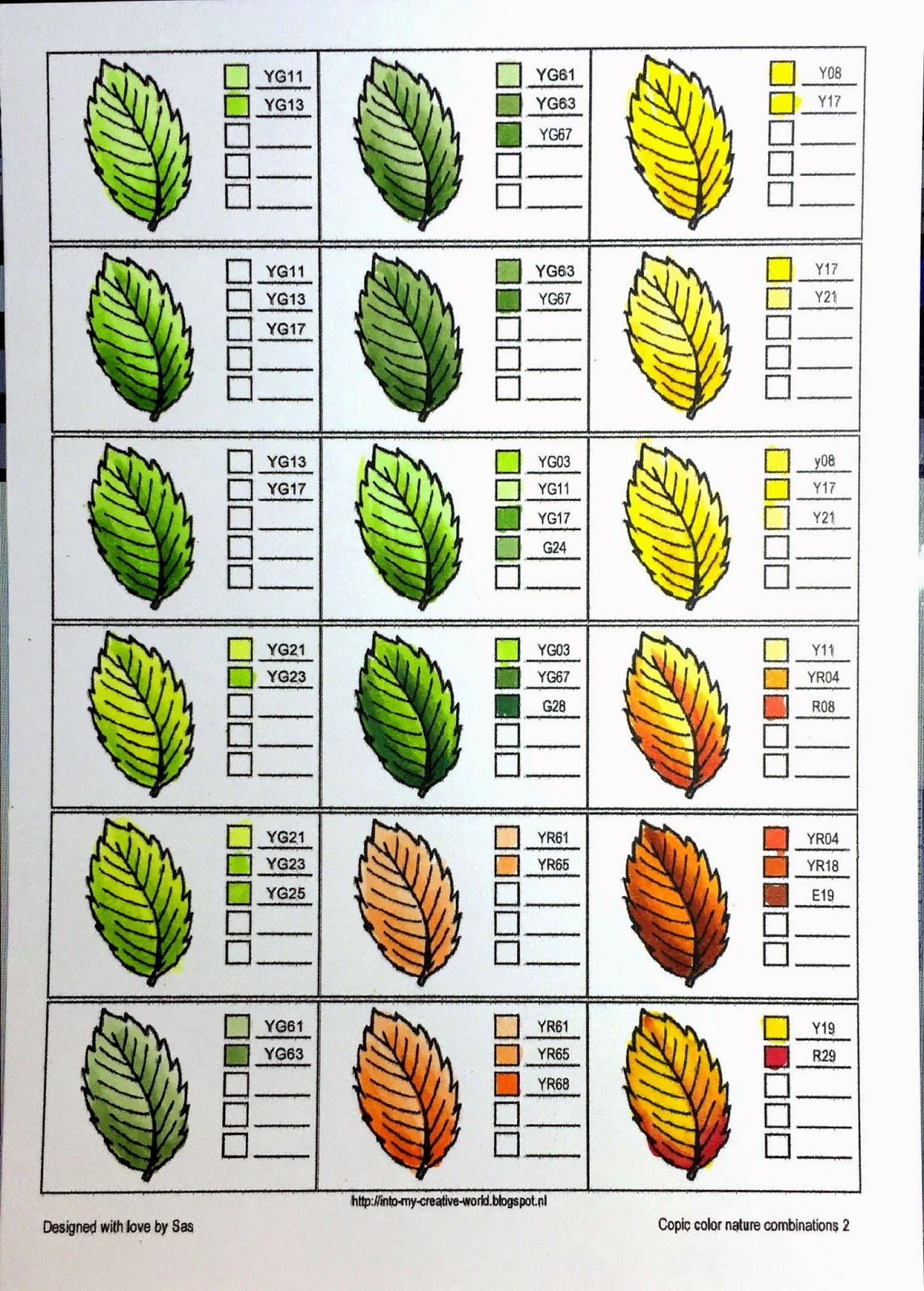 Coloring nature with Copics - leaves - Crafting For Holidays ...