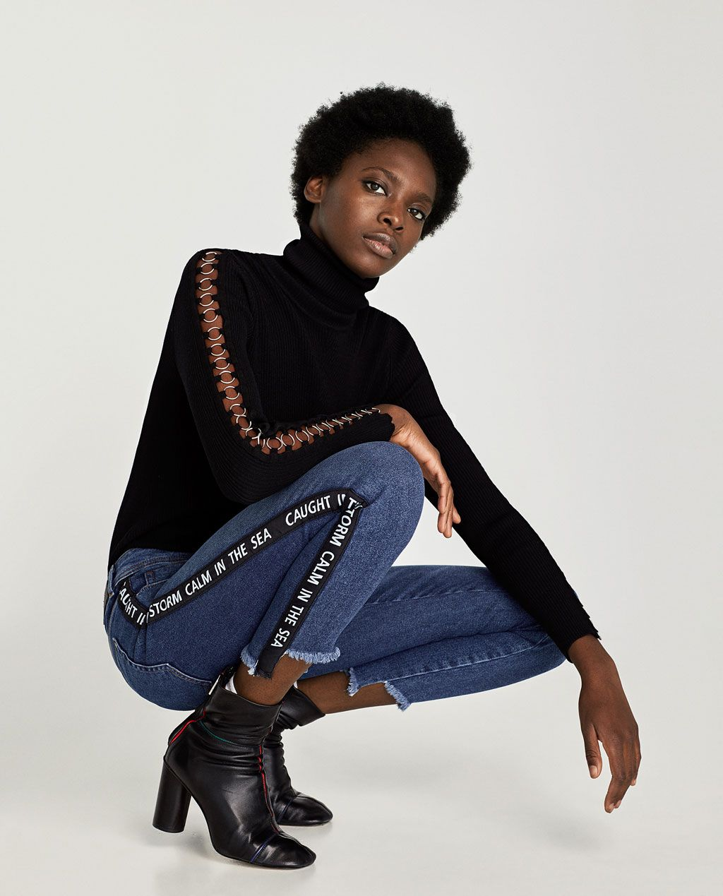 Image 4 of JEANS WITH SLOGAN PRINTED STRIPE from Zara  12c7aed4cd