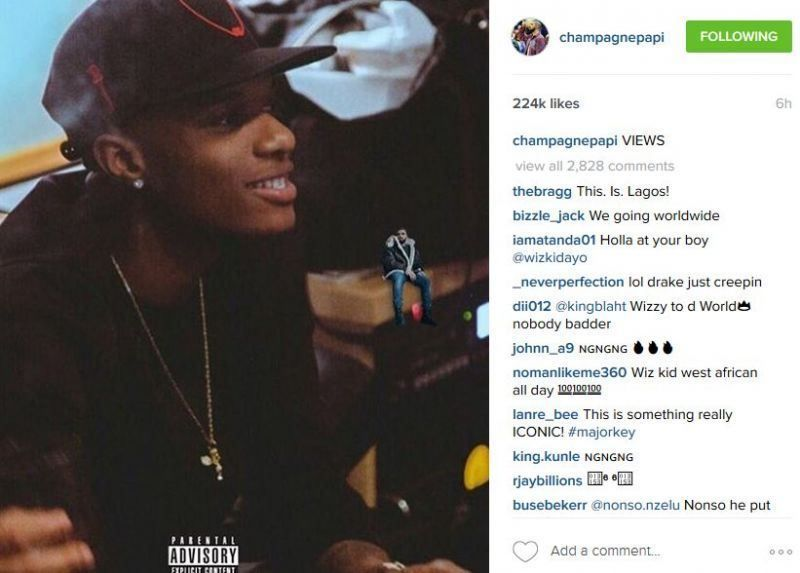 Drake Confirms Wizkid features on his Views album Via Instagram