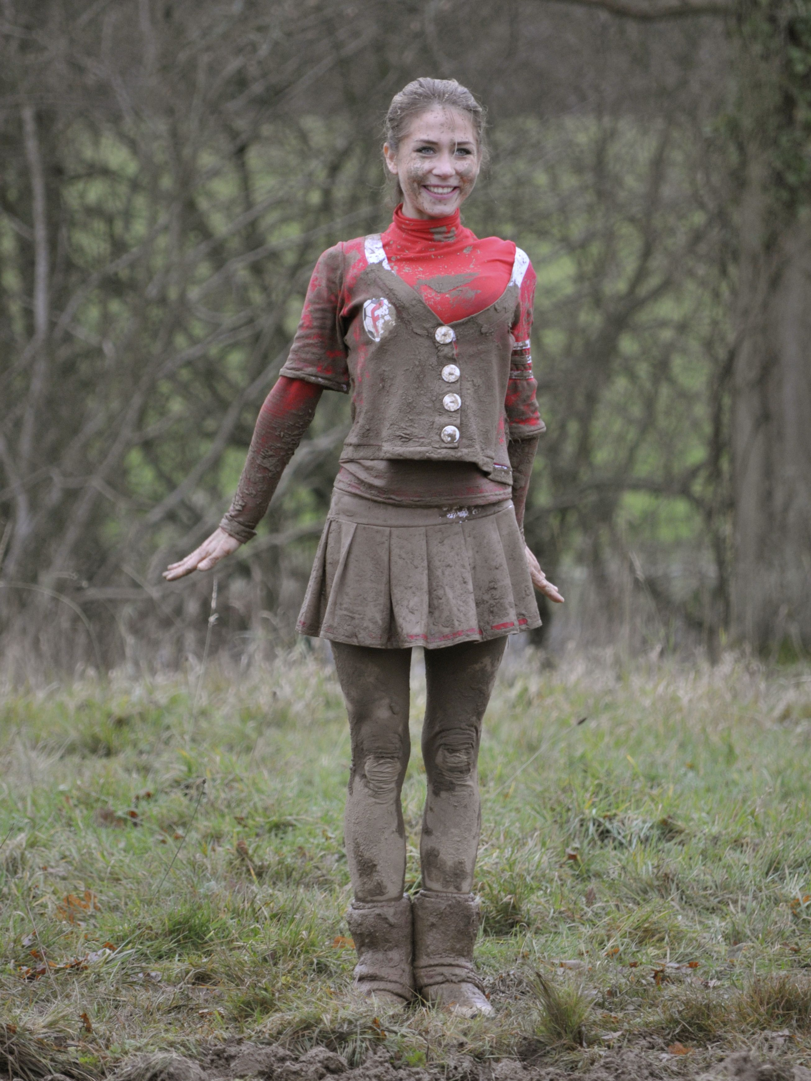 Girls Falling in Mud