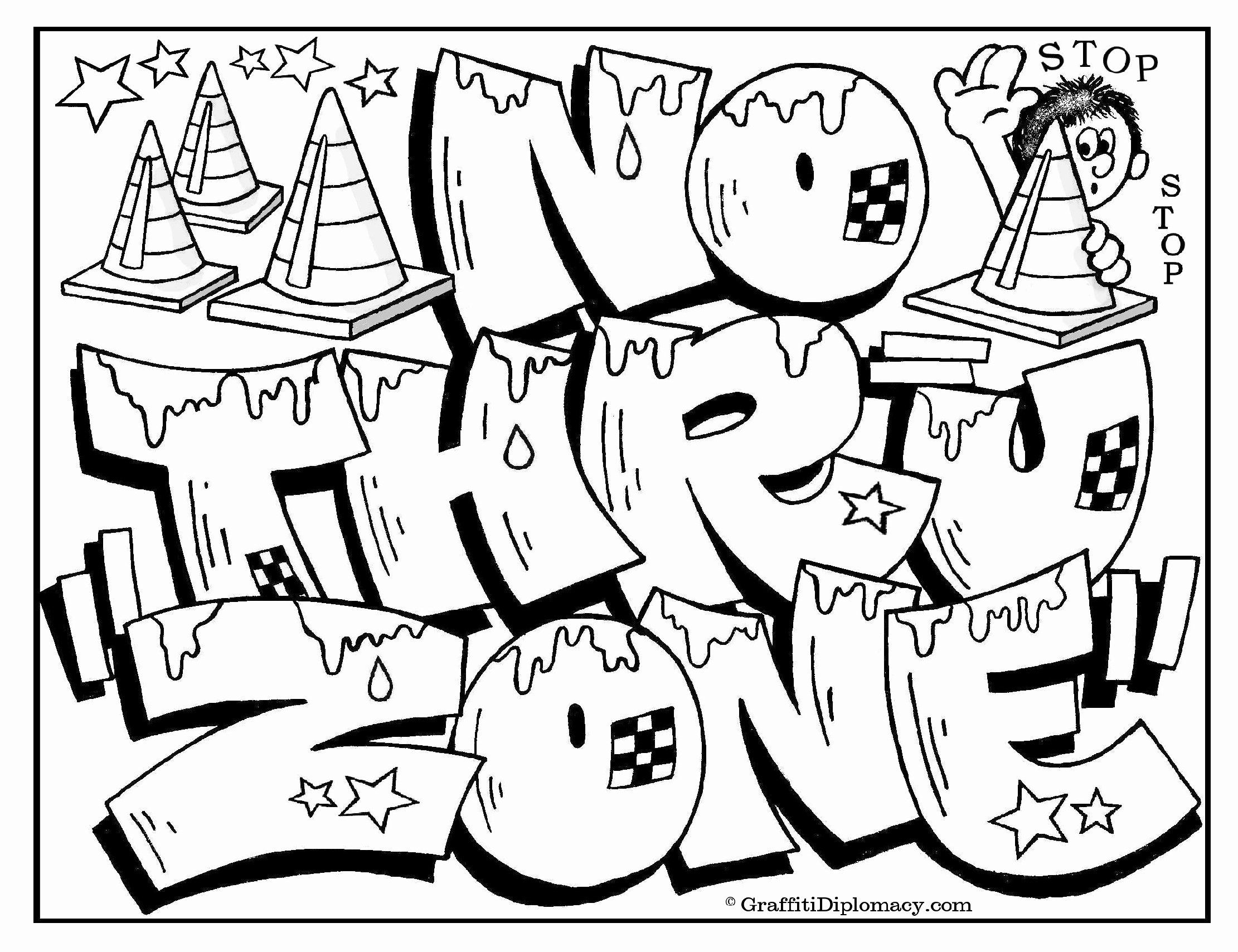 Printable Graffiti Coloring Pages Awesome Graffiti Coloring Pages