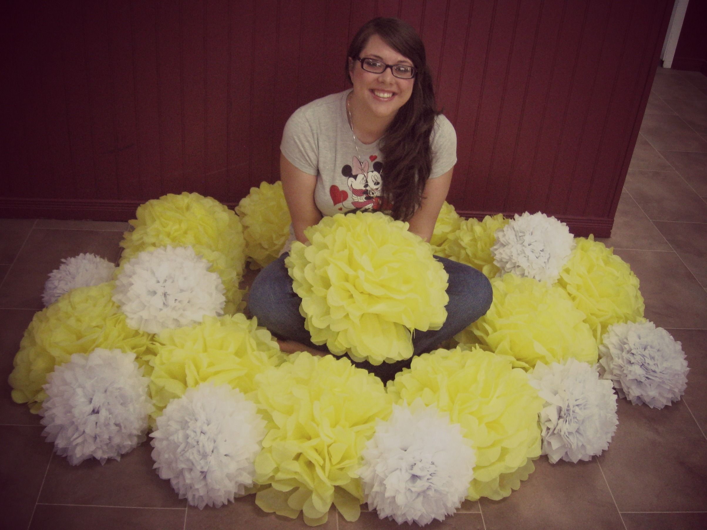 Giant Poofy Yellow Tissue Paper Flowers DIY