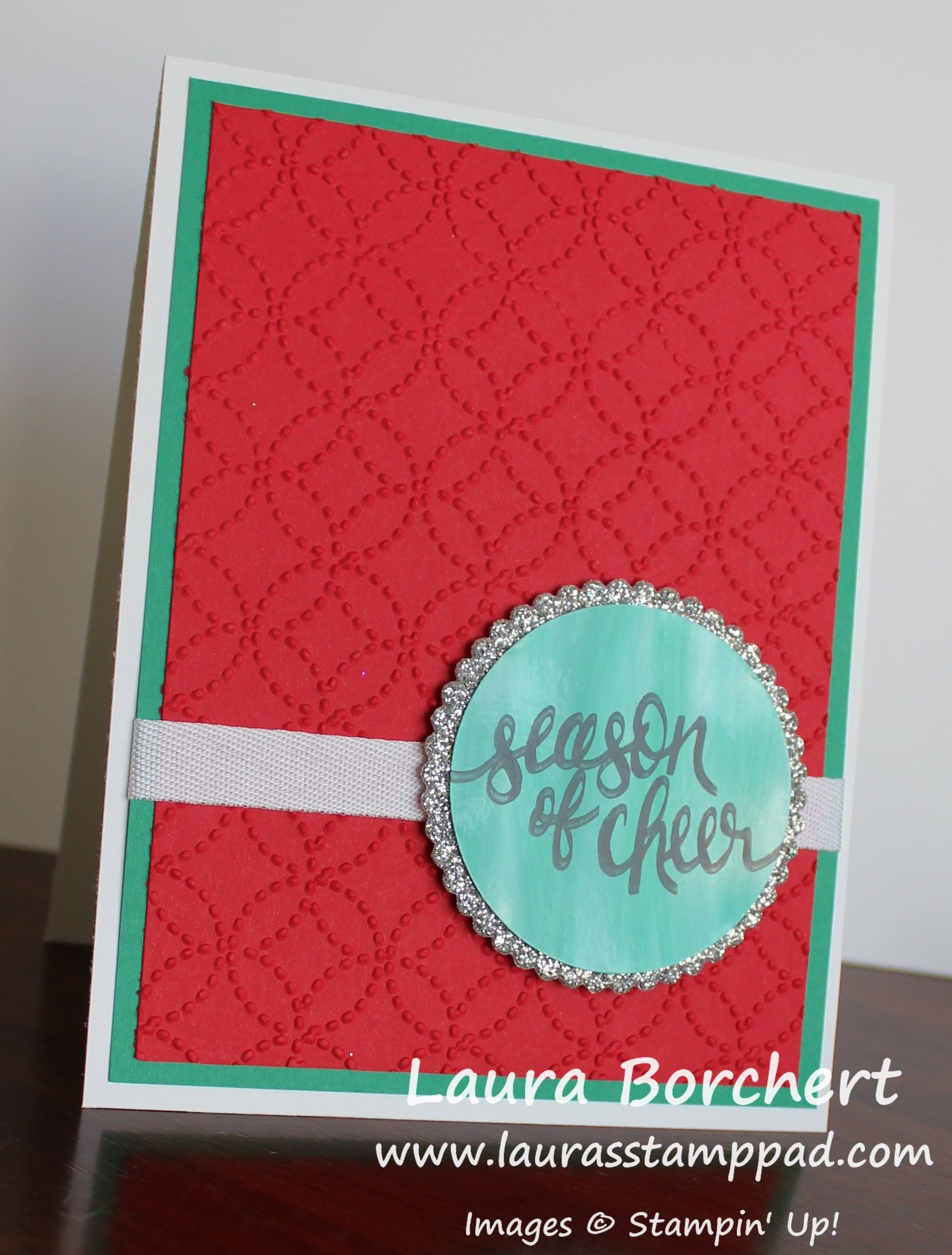 Creating a glossy greeting with glossy cardstock and ink refills creating a glossy greeting layering circles framelits quilt top embossing folder watercolor wishes stampin up stamp set laurasstamppad m4hsunfo