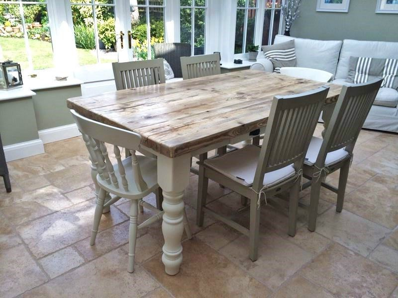 Shabby Chic Solid Pine Farmhouse Dining Table Chairs And Bench