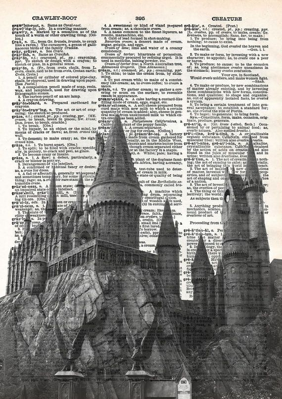 hogwarts castle print harry potter print von. Black Bedroom Furniture Sets. Home Design Ideas