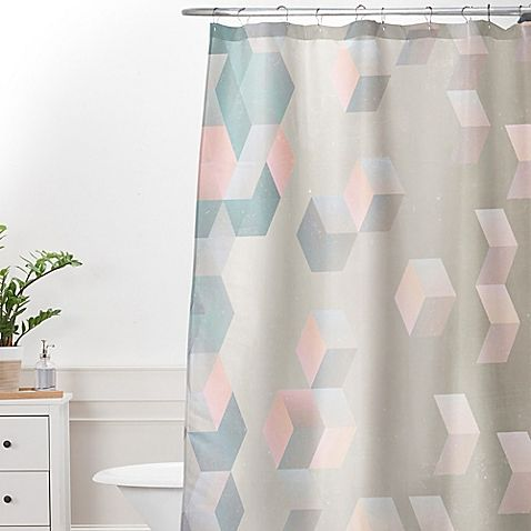 Deny Designs Emanuela Carratoni Exagonal Geometry Shower Curtain In Grey