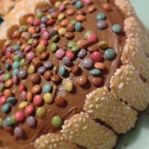 Torta di mascarpone e nutella con smarties e biscotti