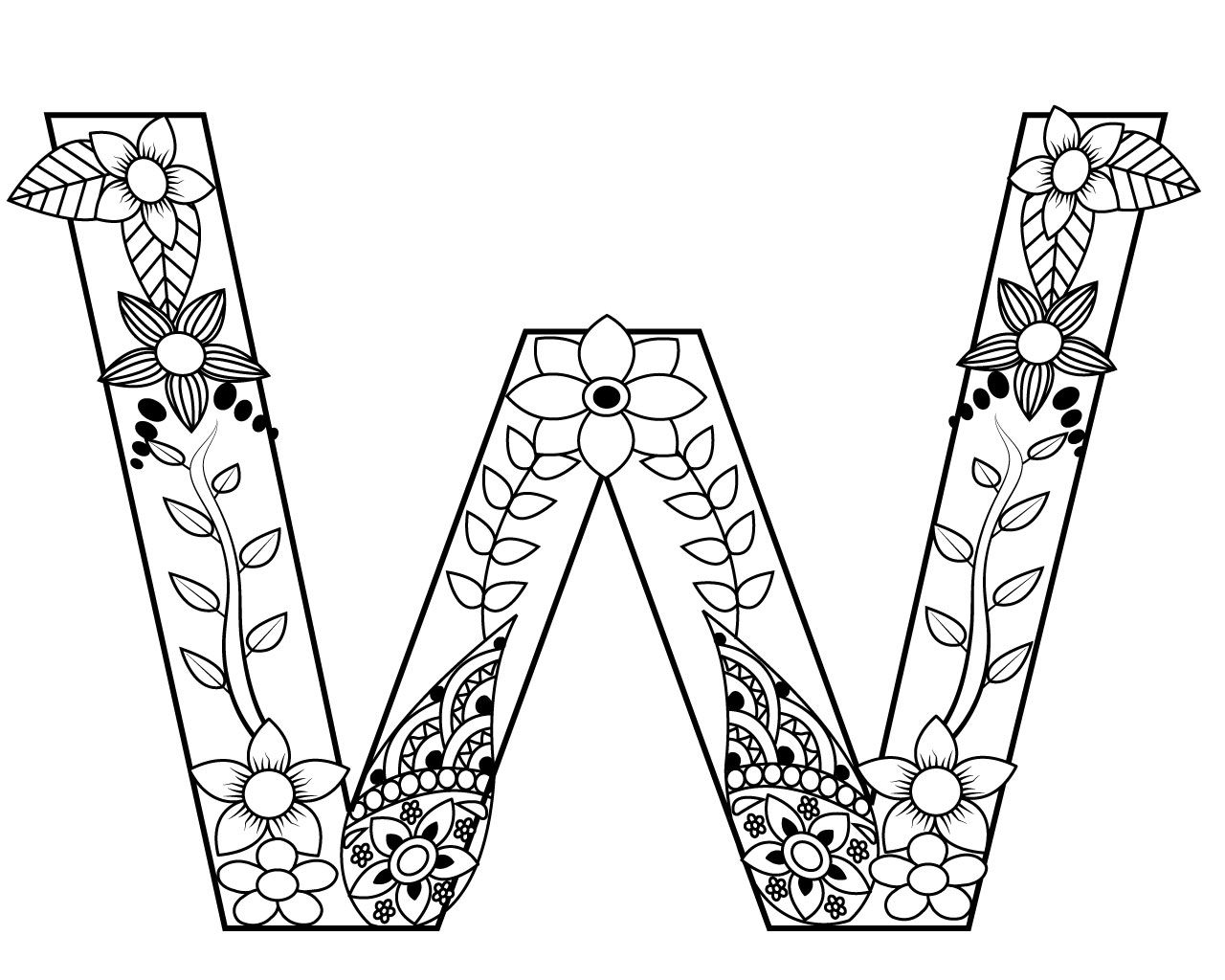 Letter w coloring pages for adults