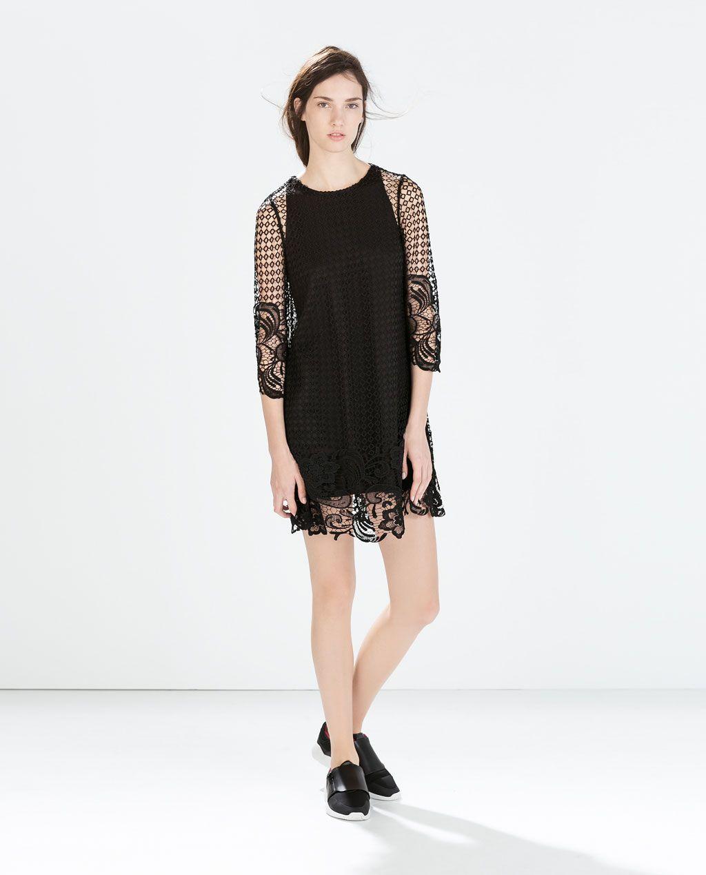 Zara Lace 3.4 Sleeve Black Dress