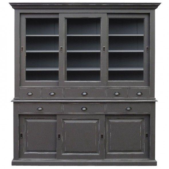 Meuble vaisselier, patine antiquaire gris foncé meuble