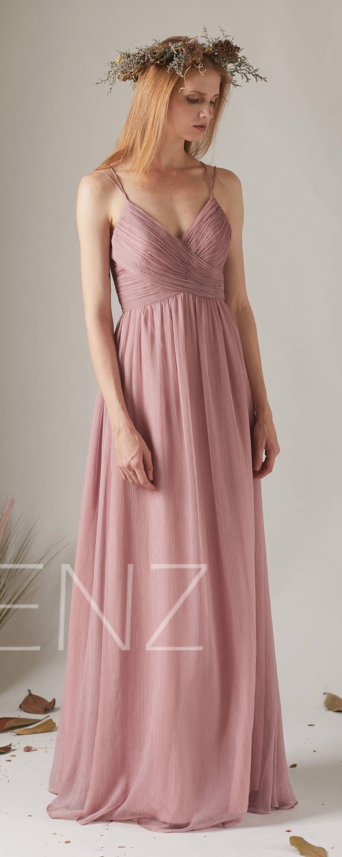 Bridesmaid Dress Dusty Rose V Neck Wedding Dress,Spaghetti Straps ...