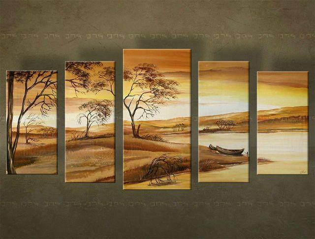 Ručne maľovaný obraz KRAJINA 5 dielny 2387FA