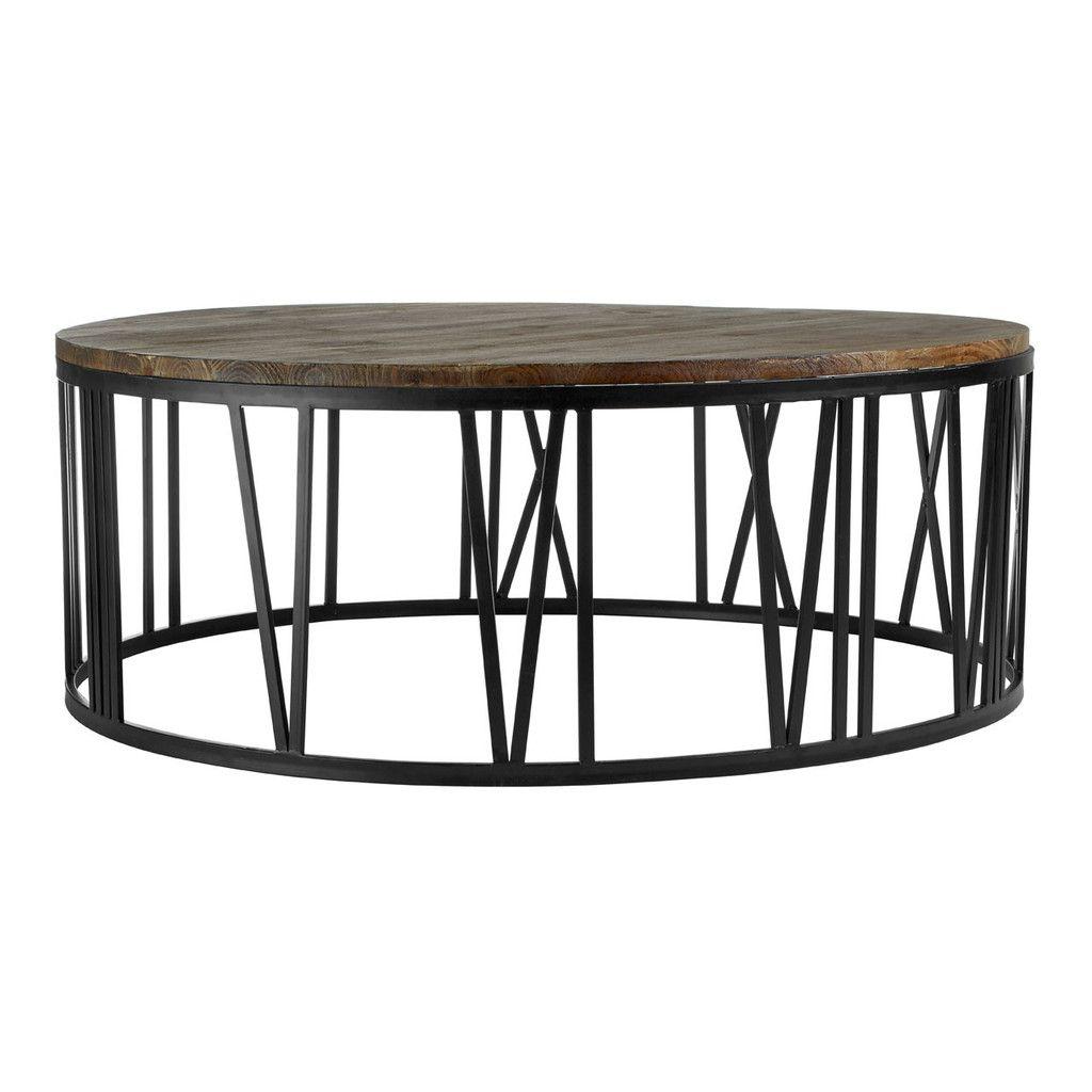 - Greenwich Round Coffee Table, Fir Wood / Black Metal, Antique
