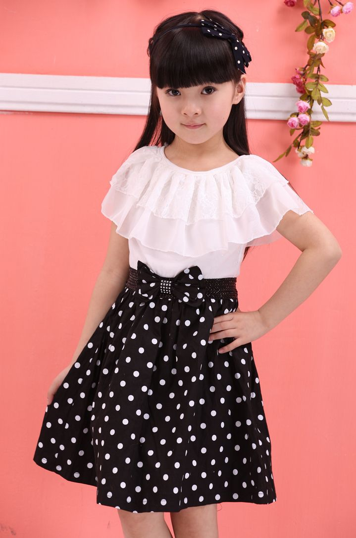 04108c59b1 ... Girl Summer Short Sleeve Bow Children Party Dress Outfits. Closeout  Children S Clothing Key: 2806629144. Dresses for 10 Year Olds