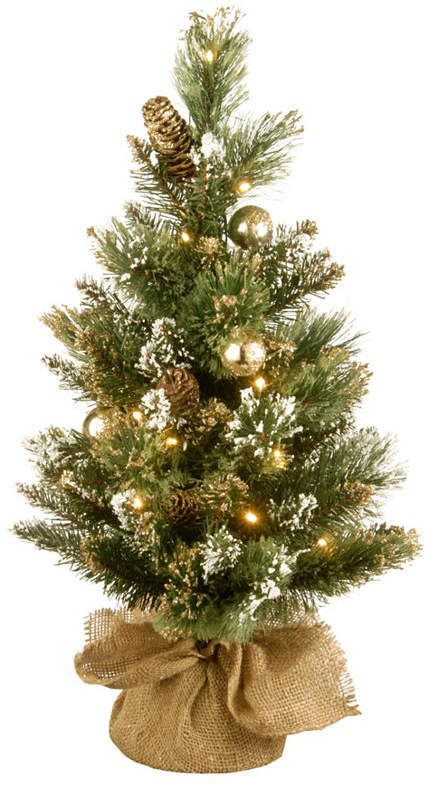 806c13051b1 National Tree Company National Tree 2  Golden Bristle Pine Memory-Shape  Burlap Tree with Gold Glittered Cones