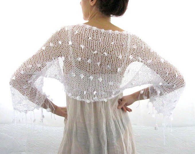 Cotton Summer Cropped Sweater Shrug in white color, hand knitted ...