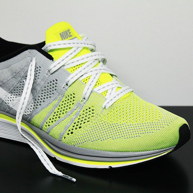 731134af6599 Laced Up Laces Flat White 3m Laces x Nike Flyknit Trainer Volt Grey ...