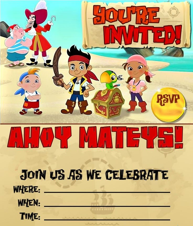 Jake and the Neverland Pirates Birthday Invitations Templates ...