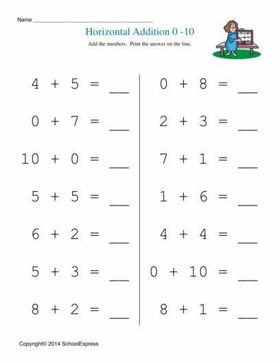 Horizontal Subtraction Facts Worksheet Preschool Addition Worksheet