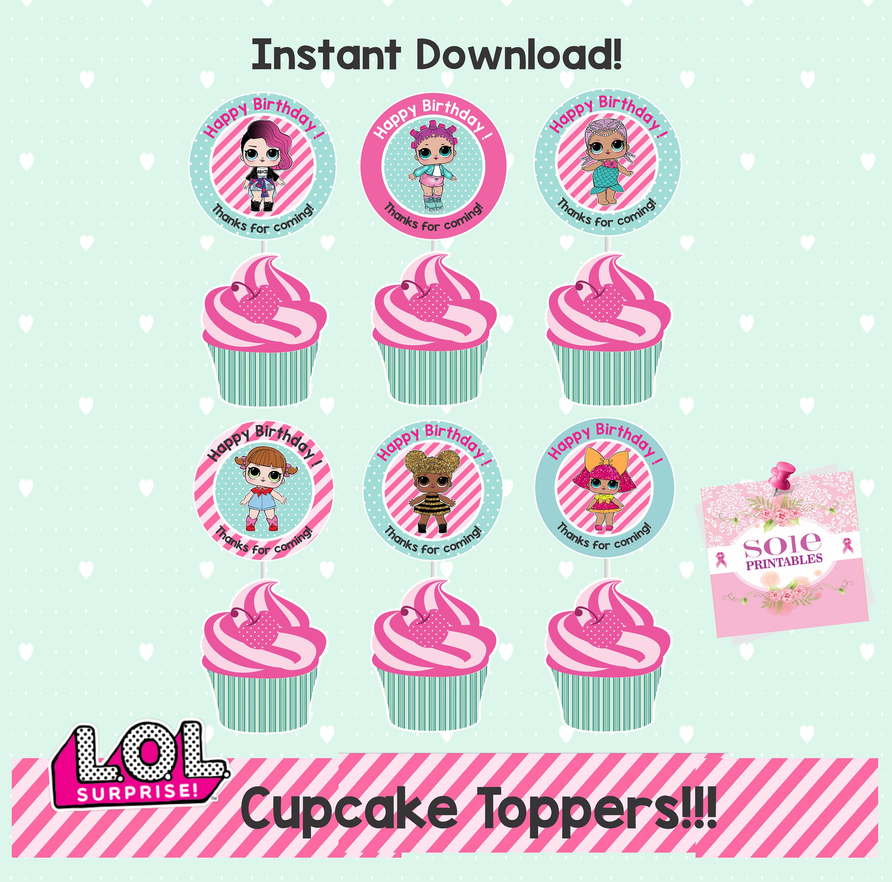 LOL Surprise Theme Happy Birthday Cupcake Toppers With