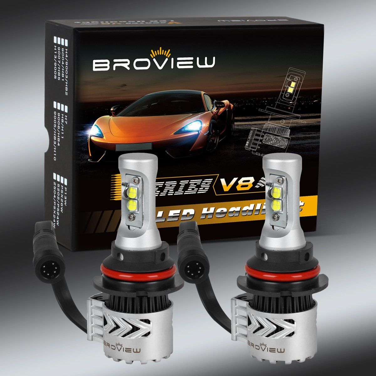 Broview V8 Led Headlight Bulbs Arc Beam Kit 72w 12 000lm 6500k 4 Cree Xhp50 Led Chip Led Headlights Headlight Bulbs Led
