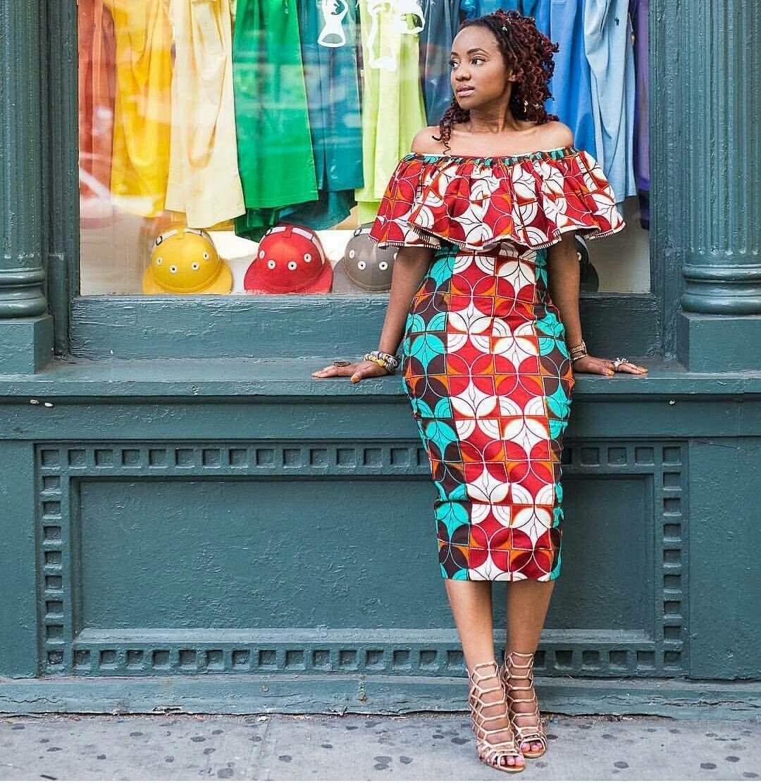 African print Off-shoulder dress …   Pinteres…